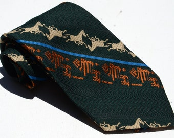 Vintage 1970s Wide Green Tie with Orange and Tan Horses from Fremacs