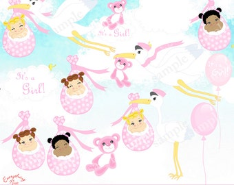Baby Stork Girls Clipart Set