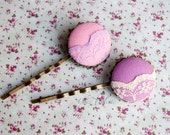 Pastel lace hair pin Purple bobby pins Pink hair pins fabric button hair clips romantic hair accessory for her