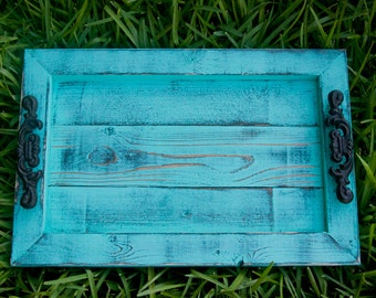 Decorative / Serving Tray - Aqua Distressed