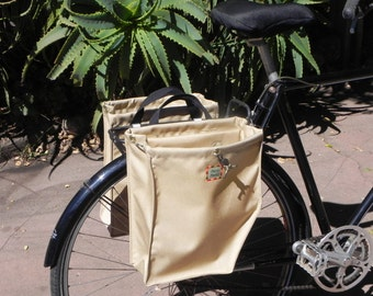 Tan bicycle panniers/bike bags (set of two)