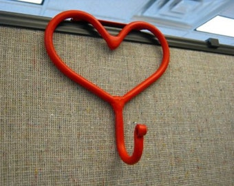 """Cubicle Metal Heart Coat Hook For 2"""", 2 1/2"""" or 3"""" Office Divider Partition Hand Forged - Red"""