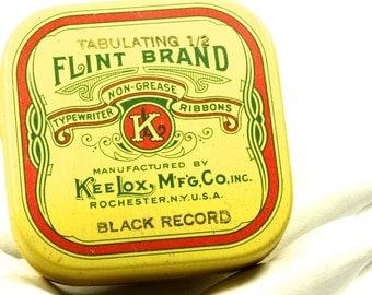 Vintage Typewriter Ribbon Flint Brand - Black Record Tabulating 1/2 Inch - Red Yellow