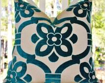 Designer Blue Pillow - Turquoise Geometric Medallion Pillow Cover -  Peacock Blue Pillow - Modern Floral Geometric Teal Pillow