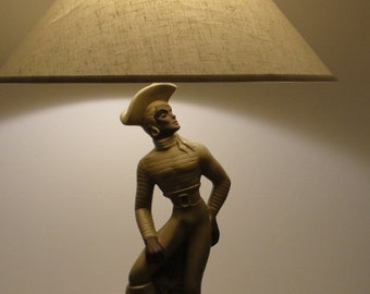 Mid Century Chalkware Table Lamp Buccaneer by Reglor of CA Chalkware