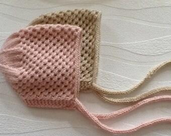 Hand knitted Newborn cashmere baby bonnet, Newborn baby bonnet, Cashmere hat,Made to order.