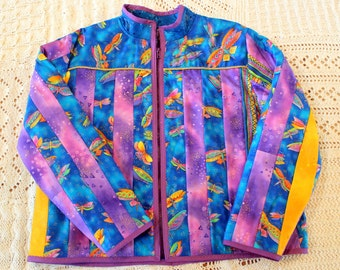 Laural Burch dragon fly pattern quilted jacket,  medium