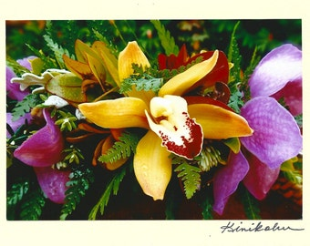 Photo Note Card Lei Purple and Gold