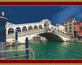 Rialto Bridge, Venice Cross Stitch Pattern