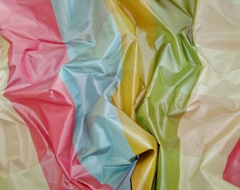 PASARI KATERINA CHECK Silk Taffeta Fabric 10 yards Pink Blue Gold Green Multi