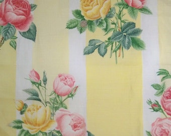 Lee Jofa KRAVET SHABBY ROSES Stripes Linen Fabric 10 Yards Yellow Pink Rose Green Multi
