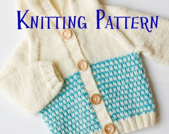 PDF Knitting Pattern - Baby Hoodie, Infant Cardigan, Baby Toddler Hooded Sweater Knitting Pattern, Baby Cardigan Pattern