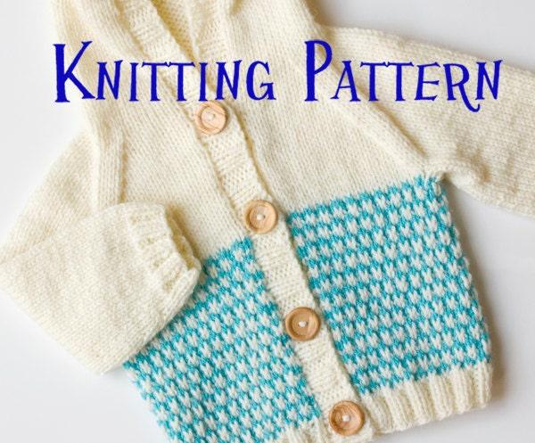 PDF Knitting Pattern Baby Hoodie Infant Cardigan Baby