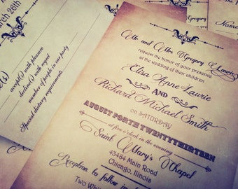Vintage Chic Wedding Invitations - Vintage wedding invitation sample {Indianapolis design}