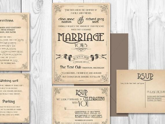 Art Nouveau Printable wedding invitation suite {Lafayette Suite}