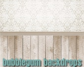 All in One Damask Wallpaper - Natural Wood - Vinyl Photography  Backdrop Photo Prop