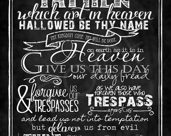 "Scripture Art - Matthew 6:9-13 Chalkboard Print ""The LORD's Prayer"" traditional version"