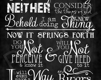 Scripture Art - Isaiah 43:18-19 Chalkboard Style