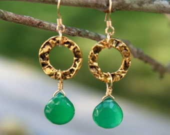 Erin Earrings: Emerald green chalcedony briolettes on antique gold rings