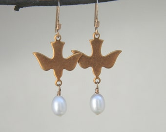 Evelyn Earrings: Darling golden brass dove earrings with creamy white freshwater pearl drops on 14k gold-filled ear wires