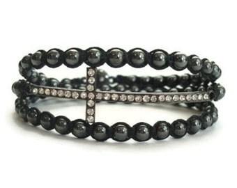 Wrap Bracelet, Sideways Cross Bracelet