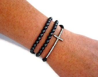 Sideways Cross Purple Wrap Hematite Beaded Bracelet