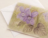 Violets watercolor reprint note card, gardening blank greeting card