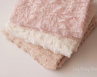 Newborn Ruffle Stretch Wrap, Newborn Photo Prop, Baby Ruffle Wrap/Mini Blanket, Baby Girl Ruffle Wrap -  Cream, Pink, Grey, Beige