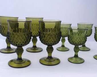 Avocado Green Vintage Goblets Set of 8