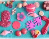 Set  pink Mix cabochons and many pcs