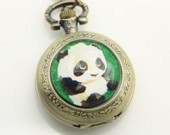 Necklace Pocket watch panda