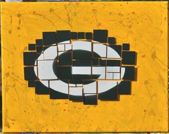 "Green Bay Packers ""Pixel"" Mixed Media Fine Art"
