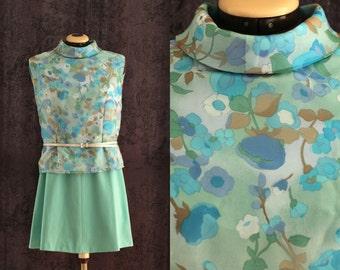 L - French Vintage blouse, flower print,  60'