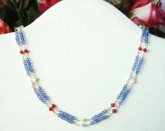 Tanzanite & ruby quartz double strand necklace, gold filled jewelry