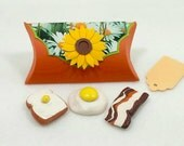 Kitchen Gift Set: Bacon, Egg and Toast Magnets in a Handcrafted Pillow Box. Stocking Stuffer.