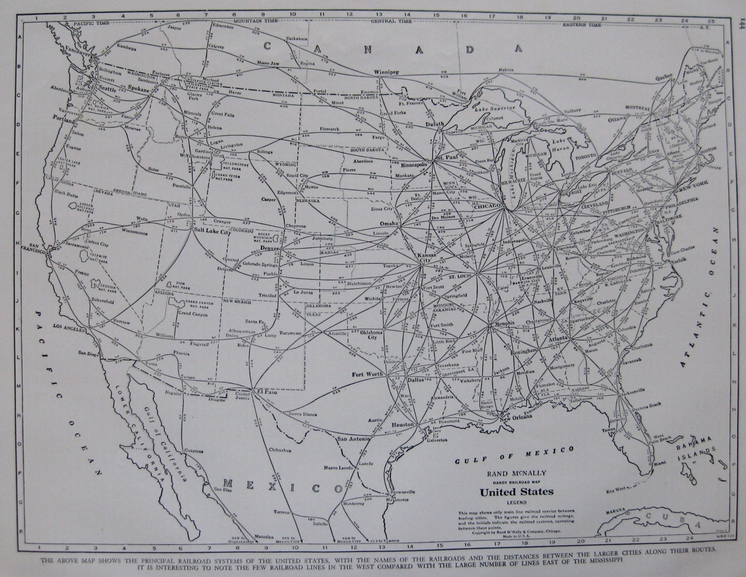 Vintage united states map 1940s railroad map black by plaindealing
