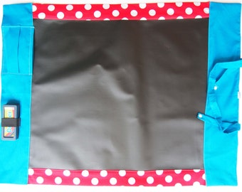 Large Portable Chalkboard Play Mat/ Chalk Mat - White Spots on Red and Blue