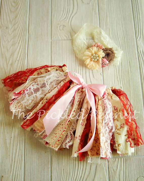 Vintage Shabby Chic fabric tutu and boutique headband, birthday outfit, rag tie tutu, pink tutu, baby tutu, newborn tutu, toddler tutu