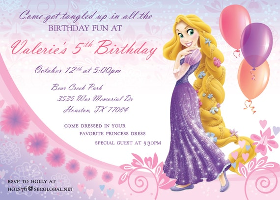 Super Invitation anniversaire Raiponce ER22