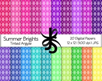 Digital Scrapbook Papers-Summer Brights Tinted Argyle-Argyle Patterns-Bright Colors-Rainbow-Wallpapers-Backgrounds-Instant Download Clip Art