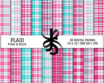 Digital Scrapbook Papers-Plaid-Pink and Blue-Preppy-Tartan Plaid-Stripes-Wallpaper-Backgrounds-Prep-Girl Pattern-Instant Download Clip Art