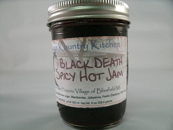 Black Death Jam, Blackberry Jalapeno jam, hot spicy fruit spread Handmade, Deliciously Sweet jam and jelly fruit preserve