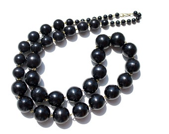 Beads Elegant. Handmade wooden jewelry. Black wooden Necklace