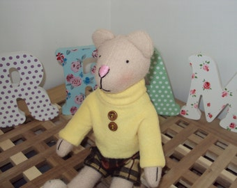 Handmade Bear with Checked Shorts & Yellow Fleece Sweater. Can be personalised
