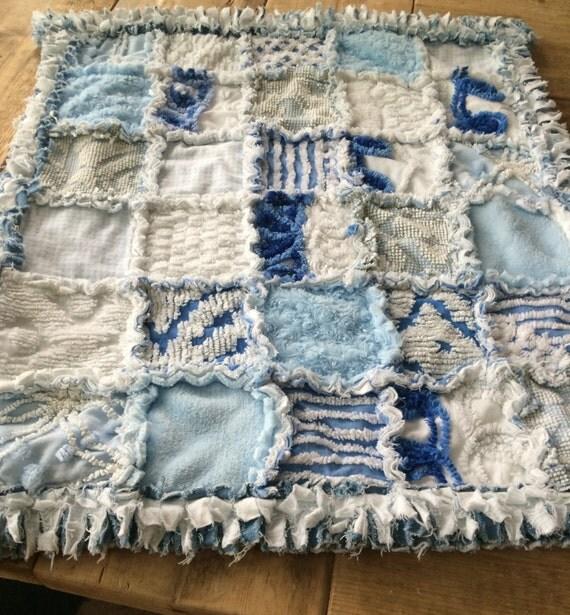 Baby Blanket, Blue Baby Blanket, Ragged Baby Blanket, Baby Blue Ragged Vintage Chenille Denim Handmade Quilt Blanket