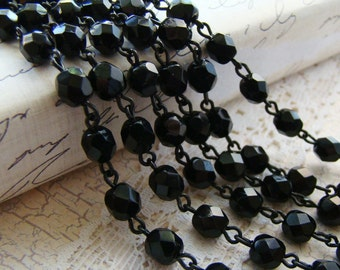 Faceted Czech Jet Black Rosary Beaded Chain Black Patina Brass Links 6mm Beads – 1 Ft.