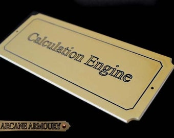 Calculation Engine  Door Plaque /PC /Laptop /tower Mod Steampunk Sci-fi Brass Effect
