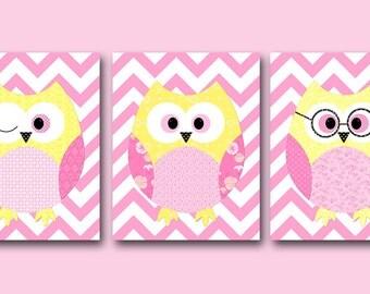 Kids Decor Kids Wall Art Owl Decor Baby Girl Room Decor Baby Girl Nursery Print Baby Girl Nursery Decor Kids Art set of 3 Pink Yellow