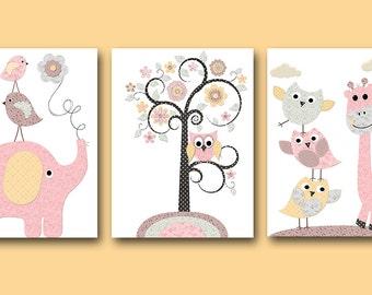 Kids Art Kids Wall Art Baby Girl Nursery Art Prints Children Wall Art Baby Room Decor Kids Print Girl Print set of 3 Owl Rose Pink Gray