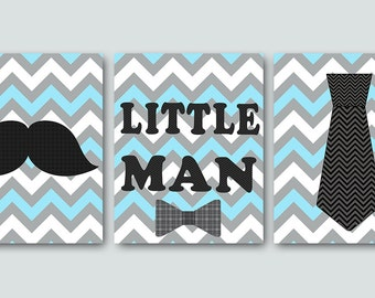 Little man Kids Wall Art Baby Boy Nursery art decor Children Art Print Baby Nursery Print Nursery Print Boy Art set of 3 blue gray